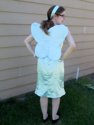 Why yes, these wings are made from paper plates, staples, scraps of fabric, and two pieces of ribbon I've been saving for years.